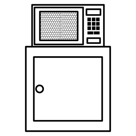 kitchen drawer wooden with microwave oven vector illustration design