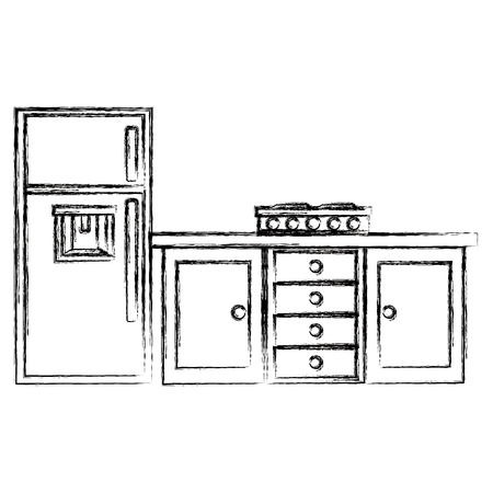kitchen drawer wooden with stove and fridge vector illustration design