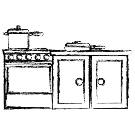 kitchen oven with pot and drawer vector illustration design 스톡 콘텐츠 - 111986464