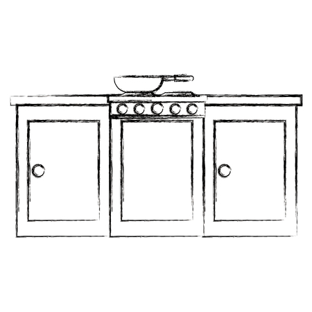 kitchen oven with drawers and pan vector illustration design Archivio Fotografico - 111986476