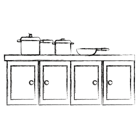 kitchen drawer wooden with set pots vector illustration design