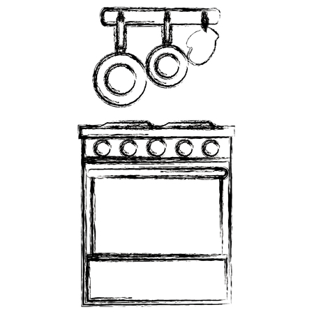 kitchen oven with cutleries hanging vector illustration design