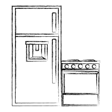 kitchen oven with fridge vector illustration design