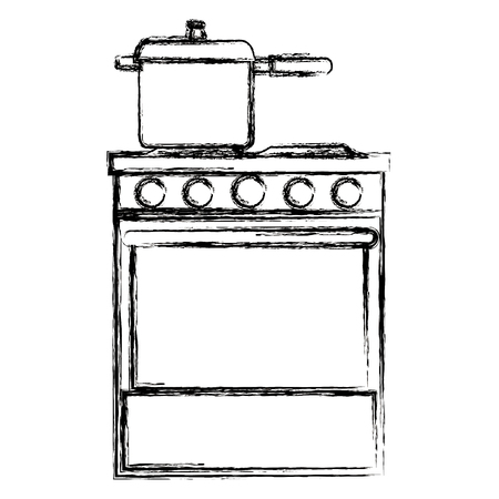 kitchen oven with pot vector illustration design
