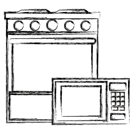 kitchen oven with microwave vector illustration design