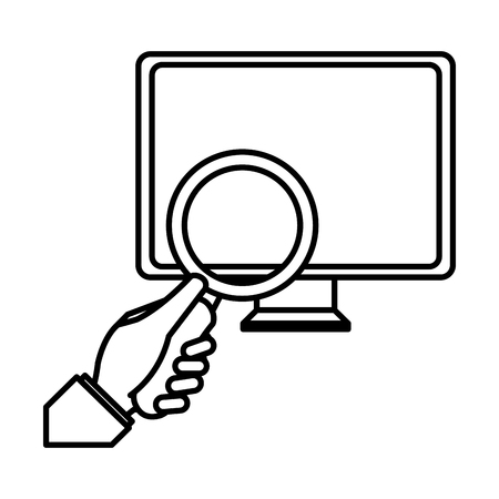 computer desktop with magnifying glass vector illustration design Illustration