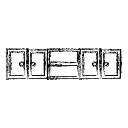kitchen shelving wooden icon vector illustration design
