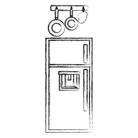 keuken koelkast met keukengerei opknoping vector illustratie ontwerp