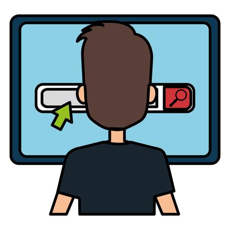 businessman with computer avatar vector illustration design Banque d'images - 111986544