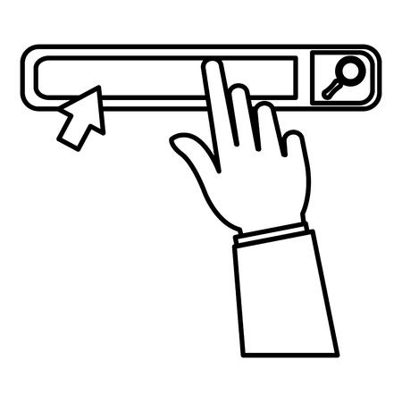 main avec barre de recherche interface de navigateur vector illustration design Vecteurs
