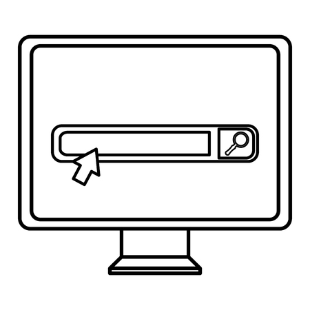 monitor computer with search bar vector illustration design
