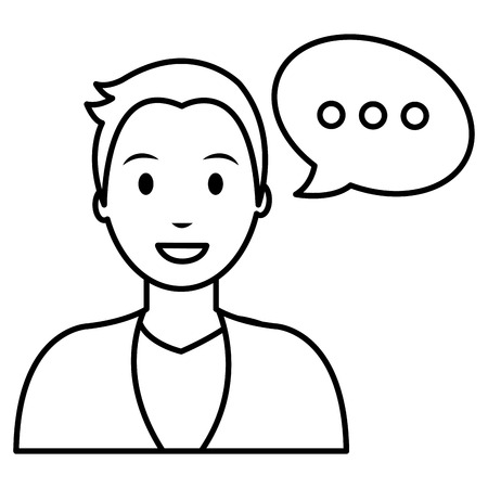 young man with speech bubble vector illustration design