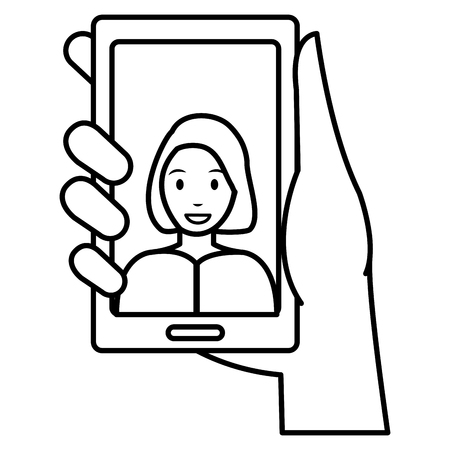 woman with smartphone device vector illustration design Banque d'images - 111986596