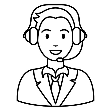 call center agent with headset vector illustration design Illustration