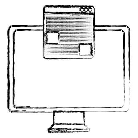 monitor computer with template webpage vector illustration design