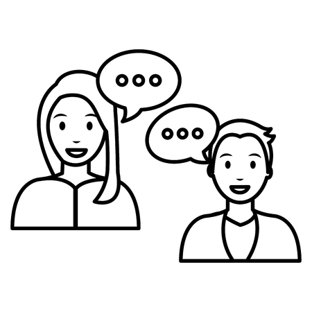young couple with speech bubbles vector illustration design Illustration