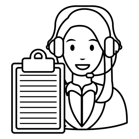 call center woman with headset and checklist vector illustration design