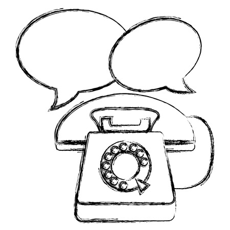 telephone with speech bubbles vector illustration design