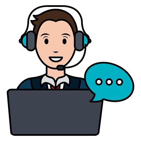 Agente del centro de llamadas con auriculares y portátil, diseño de ilustraciones vectoriales