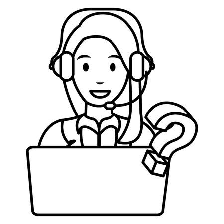 Call center mujer con laptop y auriculares, diseño de ilustraciones vectoriales