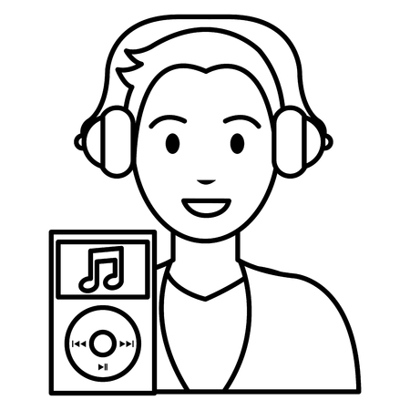 young man with music player character vector illustration design