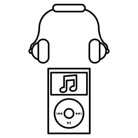 music player mp3 with headphone vector illustration design