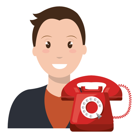 call center agent with telephone vector illustration design
