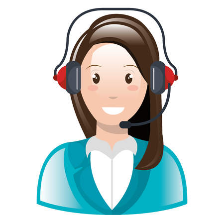 call center woman with headset character vector illustration design