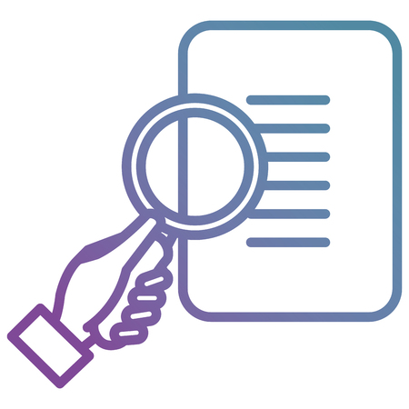 hand with document and magnifying glass vector illustration design Çizim