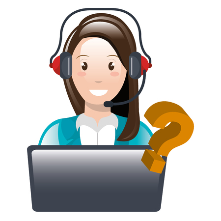 call center woman with laptop and headset vector illustration design