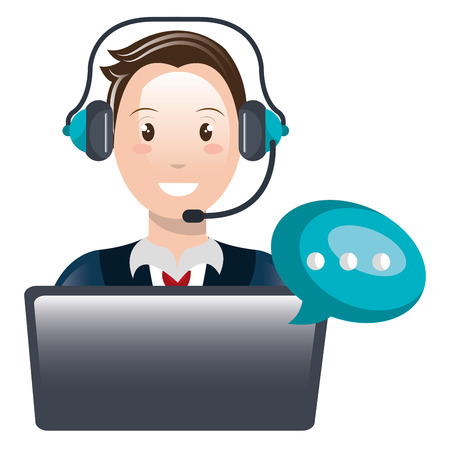 call center agent with headset and laptop vector illustration design