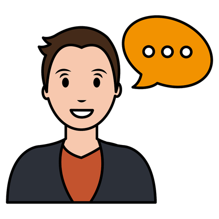 young man with speech bubble vector illustration design Archivio Fotografico - 111986724