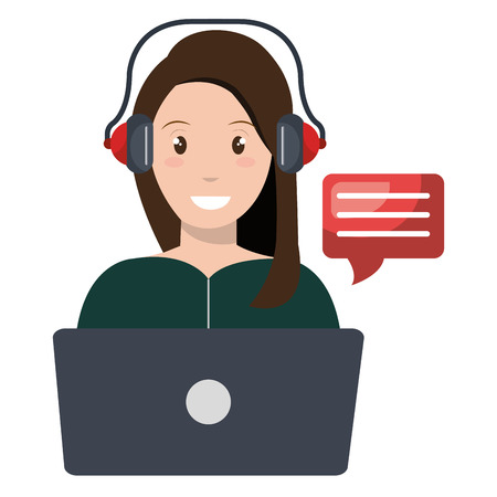 young woman with laptop character vector illustration design