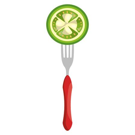 fresh tomato in fork vector illustration design Archivio Fotografico - 111986770