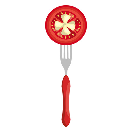 fresh tomato in fork vector illustration design Archivio Fotografico - 111986771