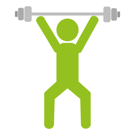human silhouette lifting weight vector illustration design