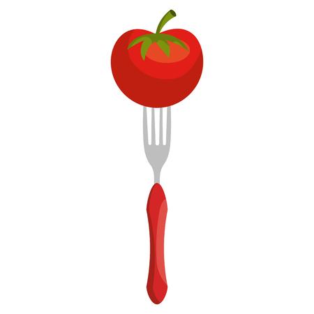 fresh tomato in fork vector illustration design