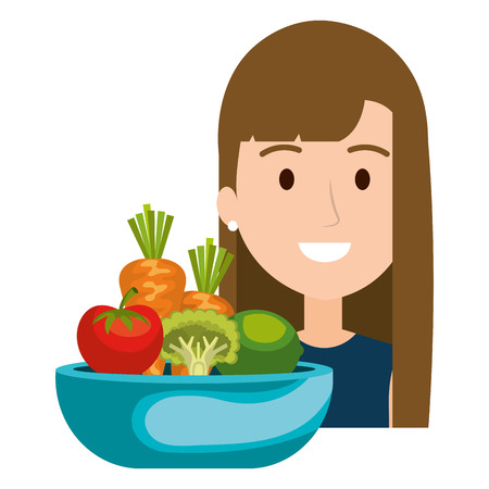 woman with vegetables in dish vector illustration design
