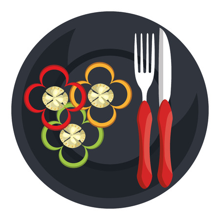 peppers in dish with fork and knife vector illustration design Ilustrace