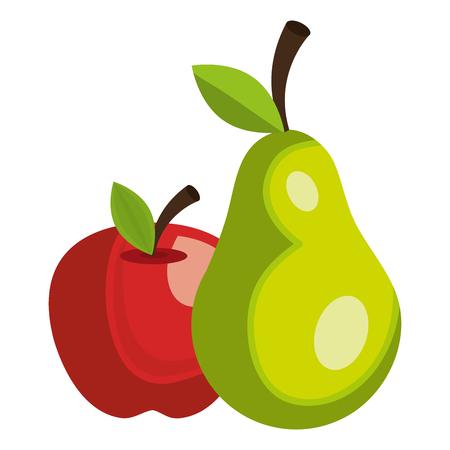 Pomme et poire fruits frais vector illustration design