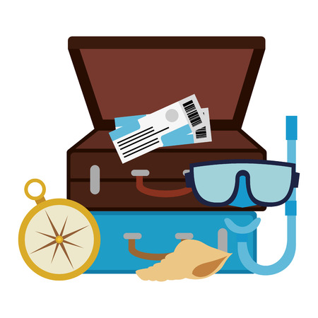 suitcase with snorkel and compass vector illustration design