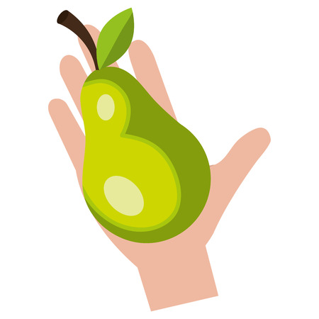 hand with fresh pear vector illustration design