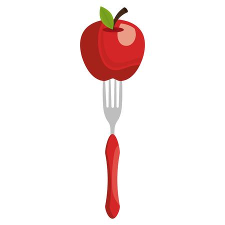 fresh apple in fork vector illustration design