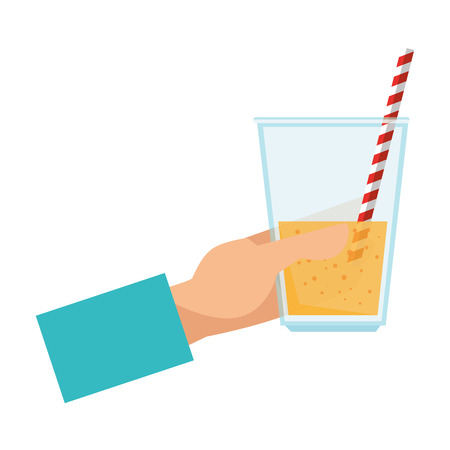 hand with fresh beverage in glass vector illustration design