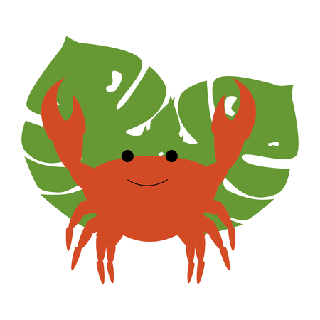 crab sea with leafs vector illustration design Banque d'images - 106518182