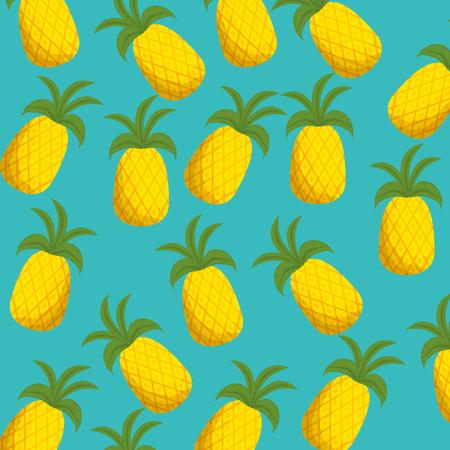 fresh pineapples fruits pattern vector illustration design