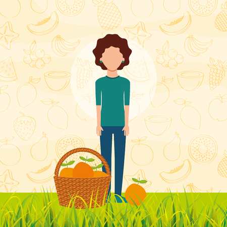 woman with basket full orange in the grass vector illustration Illustration