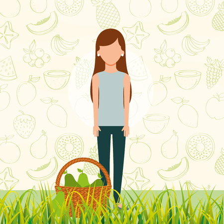 woman with basket full pear in the grass vector illustration Stock Illustratie