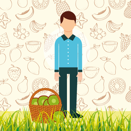 man with basket full kiwi in the grass vector illustration