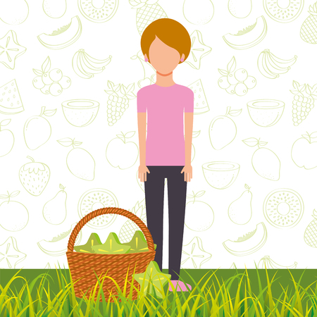 woman with basket full carambola in the grass vector illustration